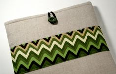 Cover for iPad in Natural Linen and Green by XSBaggageandCo, $22.00