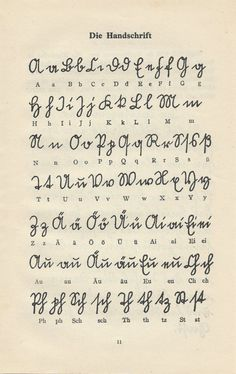 Vintage German Alphabet, Handwriting Guide - Genealogy - From German language teaching book. 2 pages, double sided. size 5 x 8 - Alphabet Symbols, Handwriting Alphabet, Handwriting Styles, Family Genealogy, Free Genealogy Sites, The Book Thief, Family Roots, Penmanship, Letter Art