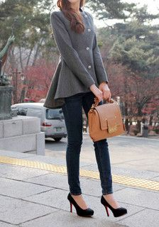 Full side view of girl in Asymmetric Fit-and-flare Blazer - Grey