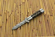 Cebu-36 Custom Made Damascus steel practise balisong butterfly SNAKE BLADE folding knife with BLACK RAM HORNS handle by Cebu knives * Click on the image for additional details.