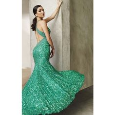 BG Haute E01017 Prom Long Dress Long Halter Sleeveless ($480) ❤ liked on Polyvore featuring dresses, gowns, deep mint, formal dresses, prom dresses, long formal gowns, sequin gown, long evening gowns and long prom dresses