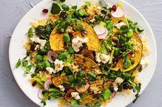 Quinoa, pumpkin and broad bean salad