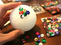 Sequin and Tack Christmas Ornaments by Girl in the Garage for Live Creatively Inspired. Candy Christmas Decorations, Diy Christmas Ornaments, Christmas Balls, Handmade Christmas, Christmas Holidays, Christmas Projects, Holiday Crafts, Holiday Fun, Sequin Ornaments