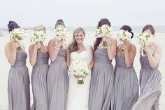 Classy August beach wedding nautical bridesmaid dress idea - strapless gray bridesmaid dresses + white bouquets {Dreamlove Wedding Photography}