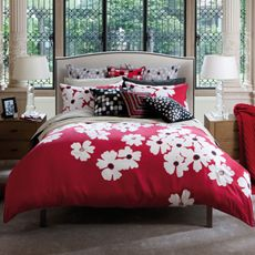 I thought - yes, a cheerful cover, a fun bedroom,  RED.  NO.    Kas Mika Duvet Cover, 100% Cotton