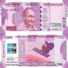 Tout nouveau billet mis en circulation par la Reserve Bank of India (RBI) le 8 novembre 2016 après la démonétisation des billets de 500 et 1000 roupies. C'est la première fois depuis 1978 que l'Inde imprime ce billet de grande dénomination.