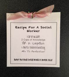 """""""Recipe For A Social Worker"""" pull out message for a 5x7 inch handmade pocket card to celebrate National Social Workers Month."""