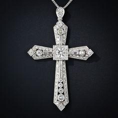 Art Deco Platinum Diamond Cross
