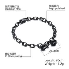 Men's 20Cm Stainless Steel Dumbbell Bracelet Fitness Fashion Accessories Four Colors To Choose Gift For Boyfriend Br-318