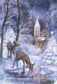 Toland Home Garden Frozen Fawns 28 x 40 Inch Decorative Winter Christmas Church Deer Snow Pond House Flag - 109722 - White/Blue/Brown Christmas Scenery, Christmas Artwork, Noel Christmas, Christmas Paintings, Christmas Animals, Vintage Christmas Cards, Christmas Wallpaper, Country Christmas, Christmas Pictures