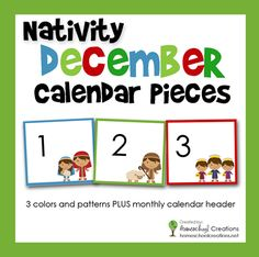 Nativity pocket chart calendar numbers - a great way to work on patterns, colors, counting and sequencing with children. #ece :: HomeschoolCreations.net
