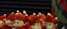 Christmas Treat: Strawberry Santas | Life Junkie Magazine Strawberry Santas, Christmas Treats, Magazine, Fruit, Life, Food, Christmas Snacks, Magazines, Meals