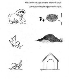 free printable matching animals to their home worksheet (7 ...