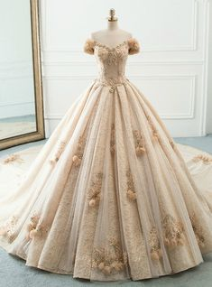 Luxury / Gorgeous Champagne Wedding Dresses 2019 A-Line / Princess Off-The-Shoulder Puffy Flower Short Sleeve Backless Beading Pearl Rhinestone Cathedral Train Ruffle Puffy Wedding Dresses, Fantasy Wedding Dresses, Wedding Dress Train, Fantasy Gowns, Puffy Dresses, Royal Dresses, Quince Dresses, Ball Dresses, Ball Gowns