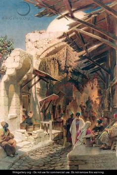 Carl Haag (1820-1915) - The Bazaar near the Damascus Gate in Jerusalem
