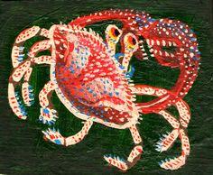 Cangrejo  Acrílico sobre banner 10,8x9 cm aprox 2015