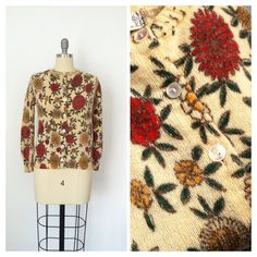 50s Fall Floral Sweater / 1950s Vintage by CheshireVintageShop