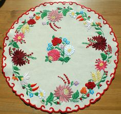 """Items similar to Colorful embroidered tabletop with hungarian folk art pattern """"Kalocsai! on Etsy Hungarian Embroidery, Learn Embroidery, Embroidery Stitches, Embroidery Patterns, Hand Embroidery, Stitch Patterns, Embroidery Techniques, Mantel Redondo, Chain Stitch"""