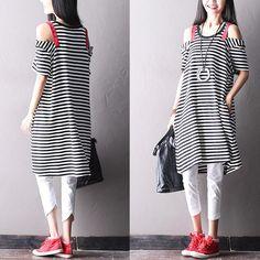 black stripe dress women clothes