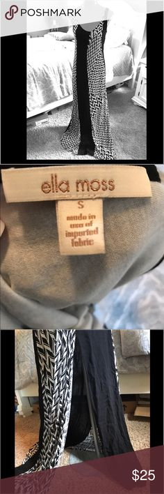 Ella Moss black and white maxi dress Size small in EUC. Lined almost to the knees. Beautiful side slit. Gorgeous on. Cotton, so it's cool and comfy! Ella Moss Dresses Maxi