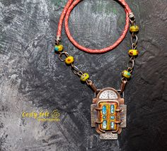 """Thanks for the kind words! ★★★★★ """"Beautifully crafted!!  I love it!"""" sharischmit #etsy #jewelry #necklace #red #yellow #women #leather #brightpendant #lampworkbeads #allhandmade"""