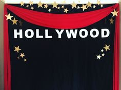 We planned, handcrafted, and set up for a Hollywood Themed School Dance. Check it out! This is our hand crafted Hollywood photo backdrop for the event.