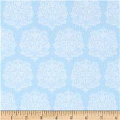Precious Baby Flannel Damask Blue