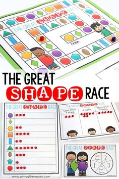 Shapes Game for Kindergarten or First Grade. Two game boards and four differentiated ways to play! Shape Activities Kindergarten, 2d Shapes Activities, Teaching Shapes, Kindergarten Lesson Plans, Preschool Math, Sensory Activities, Teaching Ideas, 1st Grade Math Games, First Grade Activities