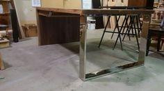 two sided black walnut live edge desk