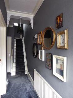 Edwardian hallway complete! Dark grey paint with dark grey carpets. #styleitdark. #picturewall