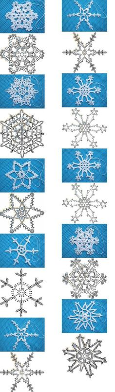 Many models of crocheted snowflakes Crochet Snowflake Pattern, Crochet Snowflakes, Crochet Doilies, Crochet Flowers, Knit Crochet, Crochet Patterns, Christmas Decorations, Christmas Ornaments, Tatting Patterns