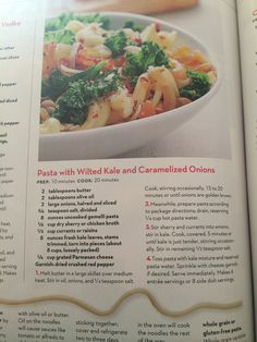 Pasta with wilted kale and onions
