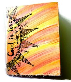 Journal with Sun, Christian, Scripture, Zentangle, Upcycled Journal, Gift, OOAK, Smash Book, Guest Book, Diary, Watercolor, notebook, verse - pinned by pin4etsy.com