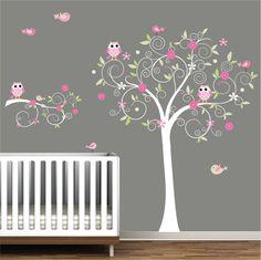Nursery Wall Decals Tree With Owl-Kids Wall Decals-Girls Nursery Decals,Vinyl,Stickers. $129.00, via Etsy.