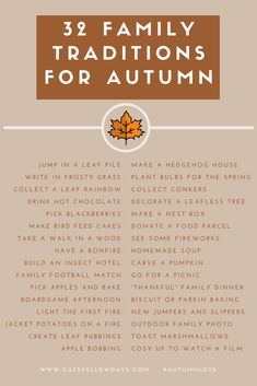 32 Autumn Family Traditions Printable: What's your favourite Fall tradition? 32 Autumn Family Traditions - Lots of activities for you to enjoy with your family to make the most of Fall. What's your favourite Fall tradition? Thanksgiving Traditions, Holiday Traditions, Family Traditions, Fun Fall Activities, Family Activities, Indoor Activities, Indoor Games, Herbst Bucket List, Fall Family