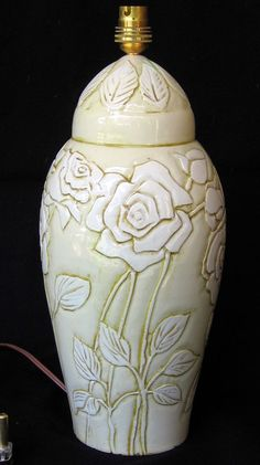 handmade ceramic pottery white lamp white roses engraved