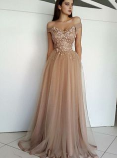 Glamour Off Shoulder Champagne Prom Evening Dress with Beaded 2269b3cfc3b1