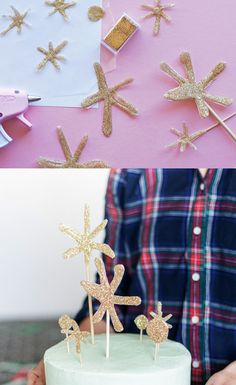 Make an amazing #DIY star topper with a hot glue gun and glitter! We've teamed up with A Subtle Revelry to bring you this holiday cheer.