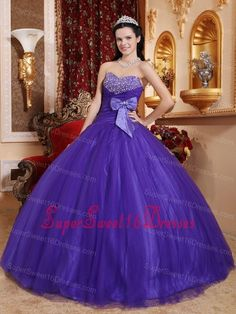 Best Purple Ball Gown Sweetheart Tulle and Tafftea Beading Sweet 16 Dress