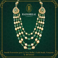 #HLPickOfTheWeek: Layers of classic pearls and emeralds that inspire confidence and evoke a sense of sophistication. #HazoorilalLegacy