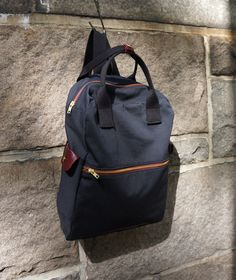 Cosmo Backpack in Black Canvas/ Men/ Messenger/ Laptop Bag/Handmade in New York/ School Bag/ Red Leather. $98.00, via @Etsy.