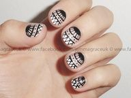 Products: Barry M Cosmetics nail paint pale pink and white, Topshop Nail Art pen in black