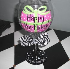 Happy Birthday Present Wine glass by winewhimsy on Etsy