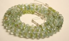 Aquamarine and Peridot Necklace for Summer an by QuietMind on Etsy, $125.00