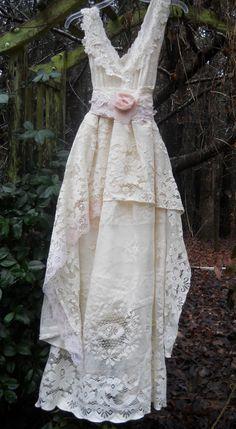 Cream lace dress vintage   rose baby doll  by vintageopulence, $160.00