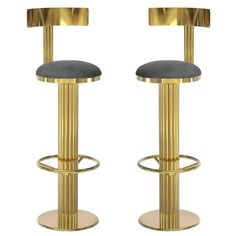 Pair of Art Deco-inspired Mid-Century Modern Leather, Brass Gilberto Bar Chairs | 1stdibs.com