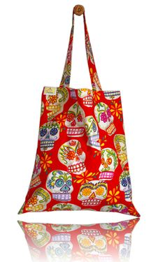 Red Sugar Skulls Lined Tote Bag - Handmade in London via Etsy Tote Bags Handmade, Sugar Skulls, London, Creative, Fabric, Red, Stuff To Buy, Etsy, Vintage