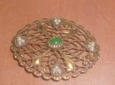 Gold jade pearls antique Brooch by PatsapearlsBoutique on Etsy, $9.99