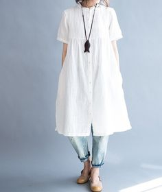 """Fabrics; Cotton Color; white Size Shoulder 38cm/15"""" Bust 100cm/ 39"""" Sleeve 22cm/ 9"""" Length 94cm/ 37""""    Have any questions please contact me and I will be happy to help you. #blouse #fashion #malieb"""