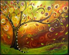 """Paint """"Gusty Fall Tree"""" (1st glass of wine & appetizers included) - Painting and Sipping Events (Renton, WA) - Meetup"""